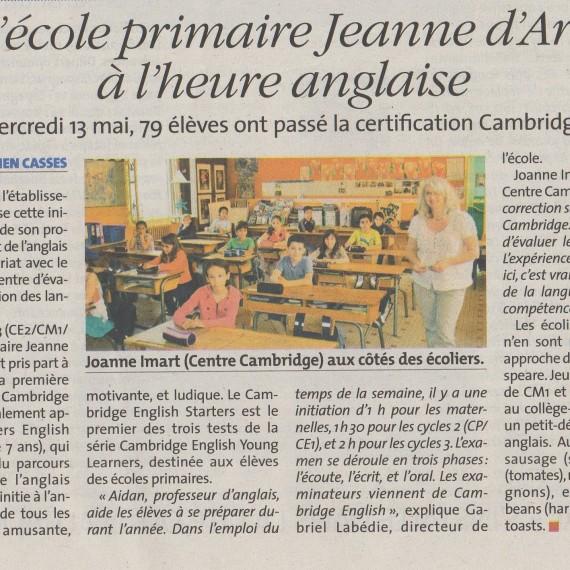 L'école primaire Jeanne d'Arc à l'heure anglaise – La Vie Quercynoise du 21 mai 2015